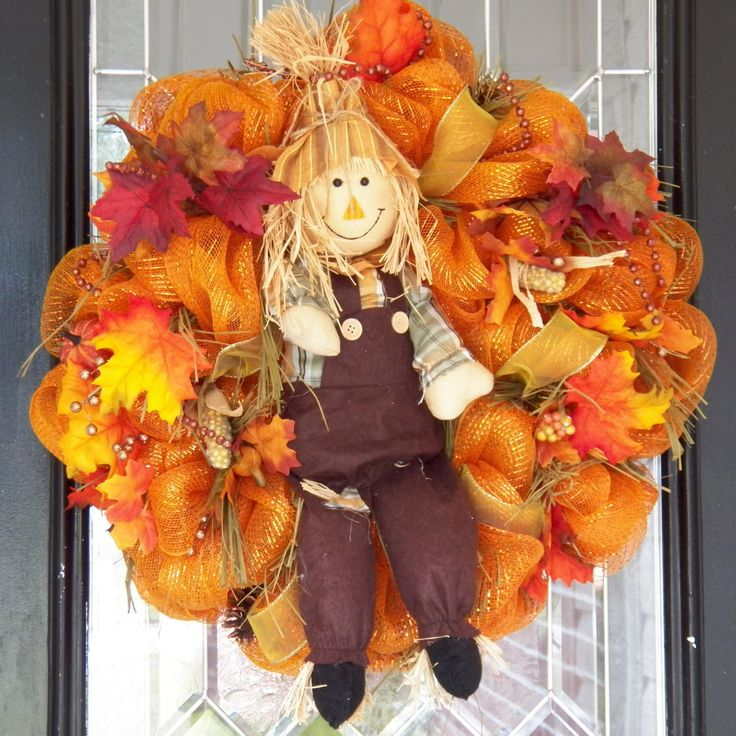 Fall Wreath, Door Hanger, Fall Decoration, Autumn Wreaths, Wreath for Door, Front door Wreaths, Deco Mesh, Whimsical, Ready to Ship by OccasionsBoutique on Etsy