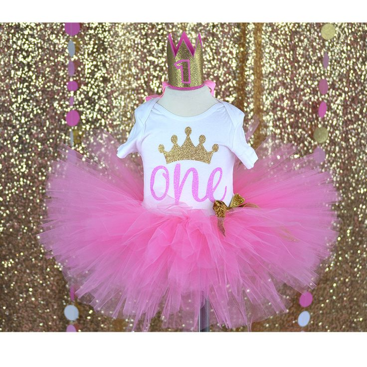 Shocking Pink tutu, Princess outfit, First Birthday outfit, baby girl princess, party theme, baby fashion, gold crown, first birthday baby g by GABYROBBINSDESIGNS on Etsy