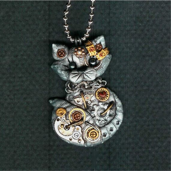 Reserved for Don Steampunk Grey Tabby Kitty Cat Necklace Polymer Clay