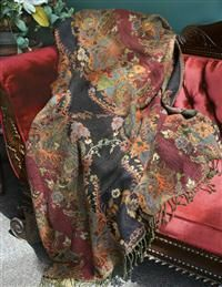 Jasmine Dream Tapestry Throw Victorian trading company $219 think this would go with burgandy quilt