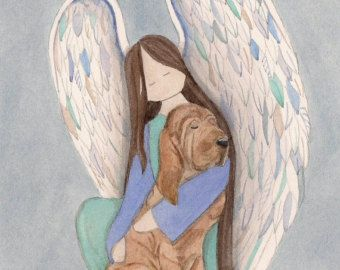 Beagle with angel / Lynch signed folk art print by watercolorqueen