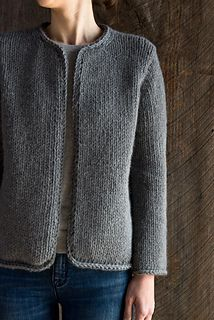 Classic Knit Jacket knitting pattern by Purl Soho. Knit with super bulky yarn.  Simple, clean lines.