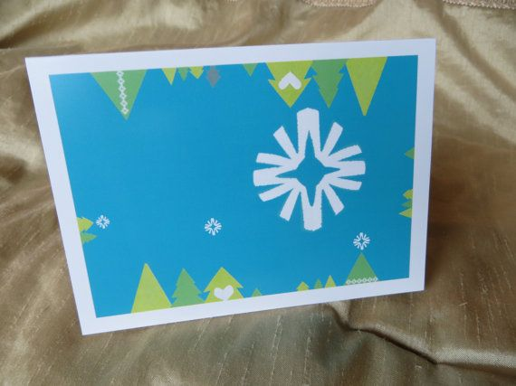 Christmas Card  Trees  Turquoise  White border  by LoveRockResidue, $3.50