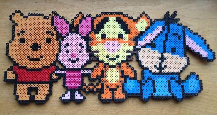 Winnie the Pooh, Piglet, Tigger, Eeyore Perler Bead