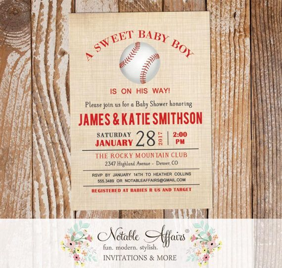 Gray and Red Vintage Linen Baseball Baby Shower Invitation - choose your text accent color - All Star Baby Shower - Little Slugger Shower by NotableAffairs