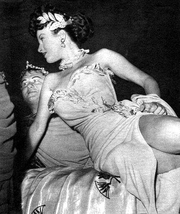 "Gino Cervi and Silvana Pampanini on the set of Mario Soldati's ""O.K. Nerone"" (English title: ""O.K. Nero!"", 1951)."