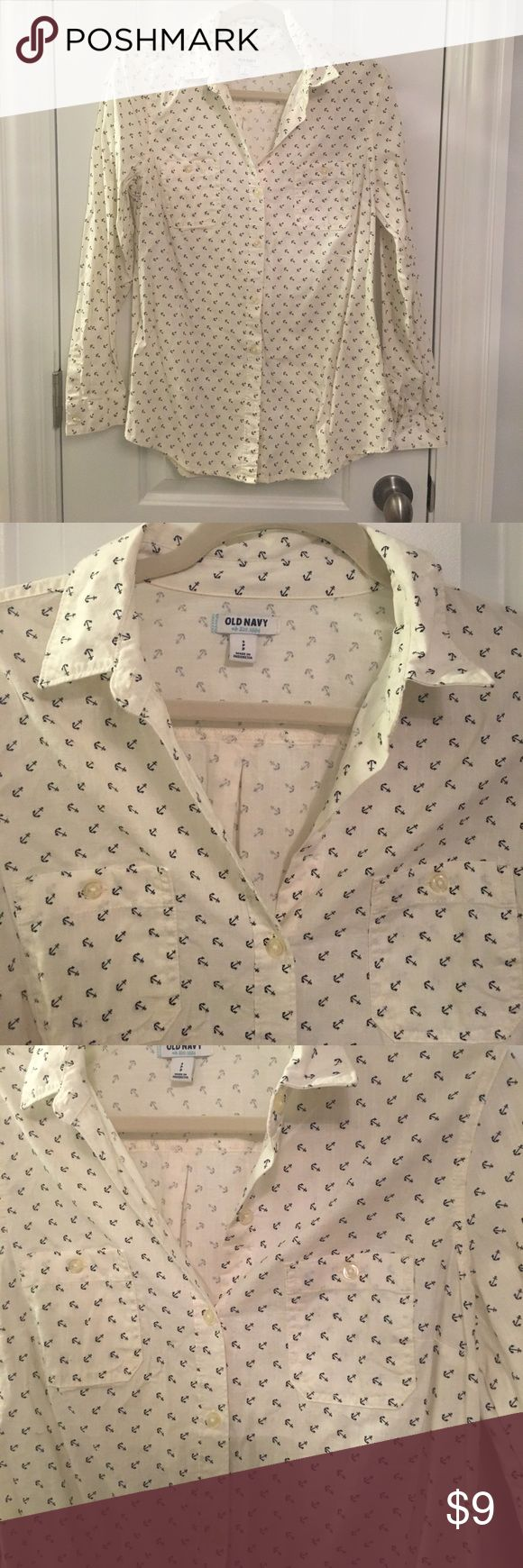 Anchor print button up blouse 100% Cotton. Old navy anchor print blouse. Old Navy Tops
