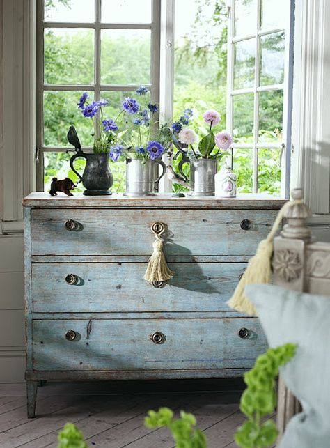 Gustavian Swedish Style | Laurel Home Blog | by Laurel Bern Interiors - Beautiful finish on this vintage dresser. Get the weathered paint finish look with Artisan Enhancements Crackle Tex!