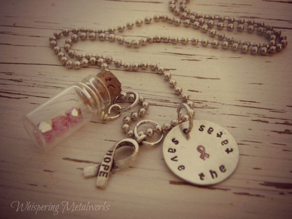 SAVE THE TA TA'S necklace - hand stamped - silver - glass jar - breast cancer awareness - Swarovski crystals - pink ribbon - hope - Whispering Metalworks