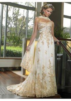 Bodenlang Trägerloser Organza Spitze Saum Luxus Hochzeitskleider