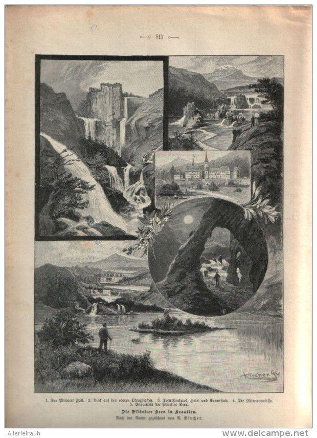 Die Plitvicer Seen in Kroatien (U.Kiecher), Plitvicka Jezera  /  Druck, entnommen aus Zeitschrift /1896