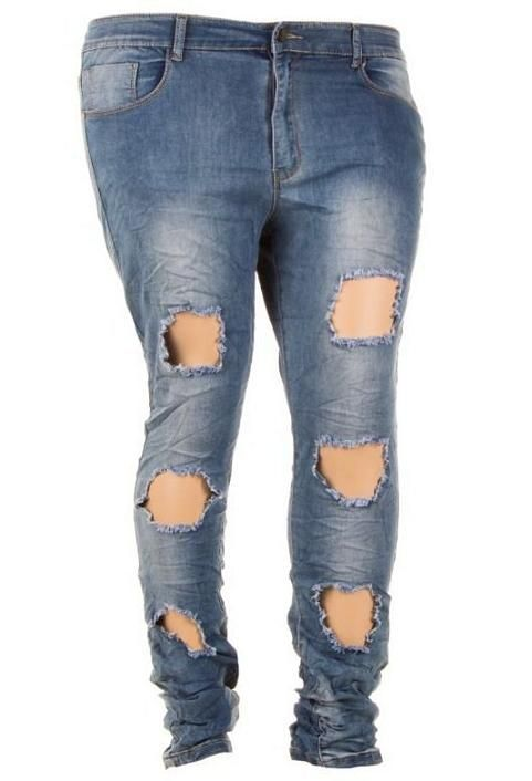 Jeans spijkerbroek dames scheuren grote maten blauw 40-48 €34,95 http://www.ladymode.nl/dameskleding/dames-kleding-grote-maten/jeans-broeken-korte-broeken/jeans-spijkerbroek-dames-scheuren-grote-maten-blauw Jeans dames used look met scheuren spijkerbroek in grote maten van maat 40 t/m 48 in het blauw voor maar €34,95.