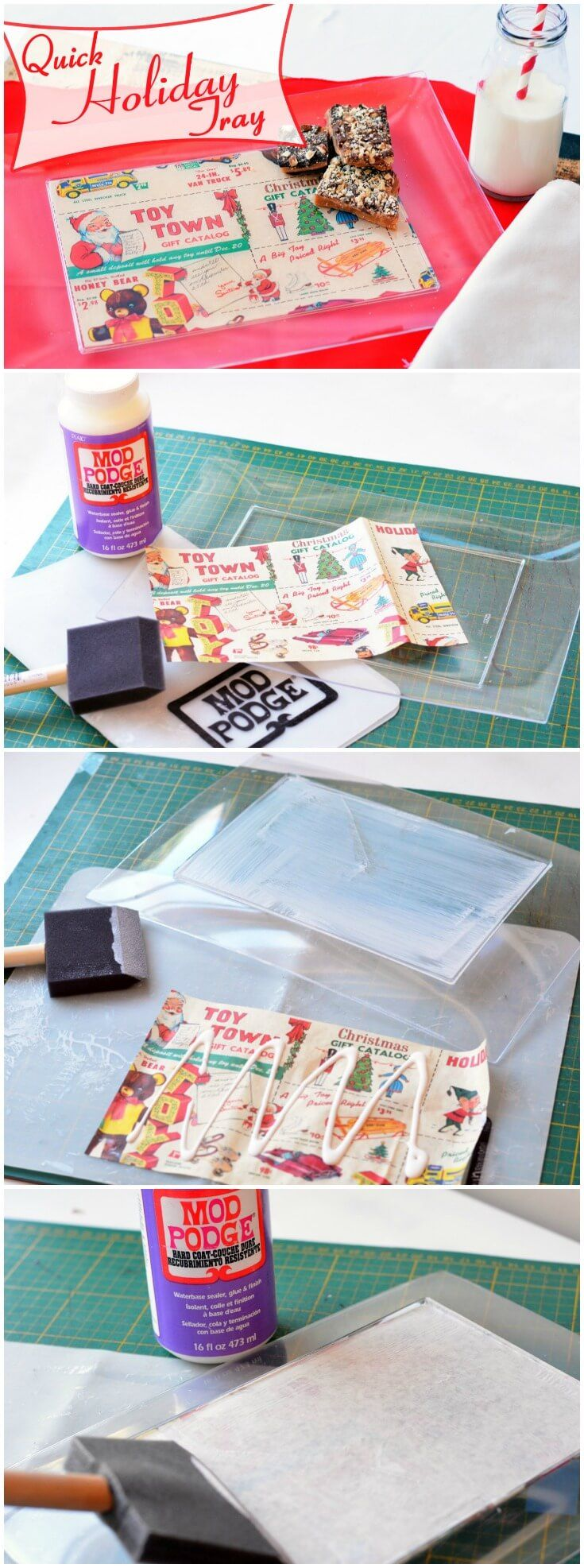 This last minute holiday tray is the perfect budget craft! The trays are from the dollar store - just add paper and Mod Podge. via @modpodgerocks