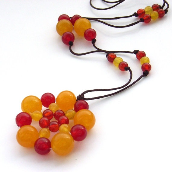 Gemstone beaded necklace cord orange and by BlueForestJewellery, $30.00
