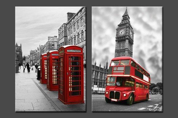 Lot de deux tableaux cabines t l phoniques et bus rouges - Tableau londres noir et blanc ...