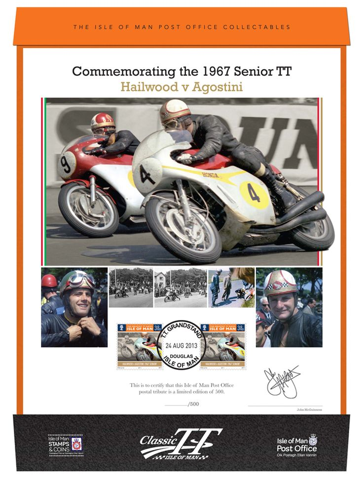 One of the most dramatic TT races of all time, the 1967 TT saw Mike Hailwood duel with Giacomo Agostini, is featured in our truly-collectable stamped print, signed and numbered by racing legend John McGuinness. #Stamps #MGP #TT #ClassicTT #Motorcycling