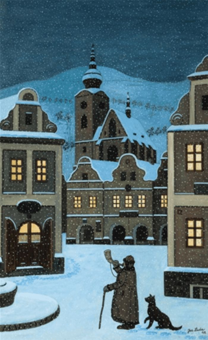 Most of Josef Lada's holiday themed artworks depict charming Czech villages in the midst of winter, snowcapped and calm. Characterized by pastel cottages, Czech villagers, and small smoking chimneys, these works evoke a feeling of warmth and nostalgia.
