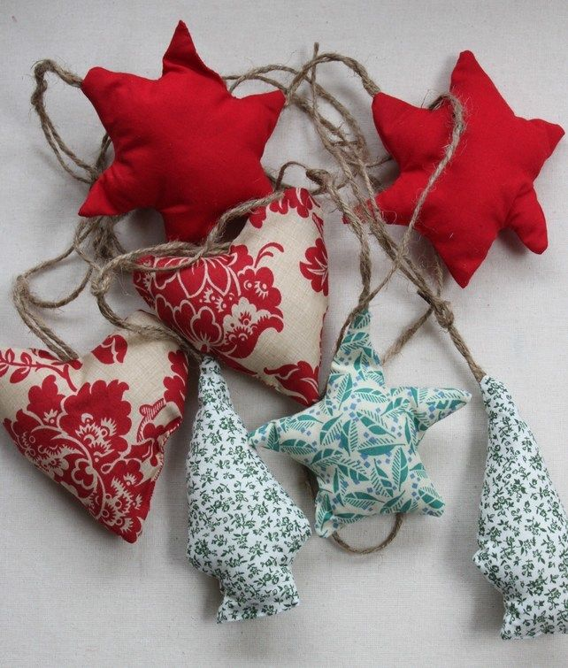 Christmas Bunting with  hearts, stars and trees £10.00