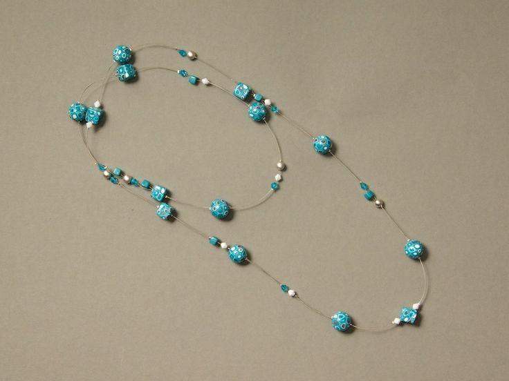 Lange Halskette in Türkis/Weiß/Silber von ViennaCrafties auf DaWanda.com