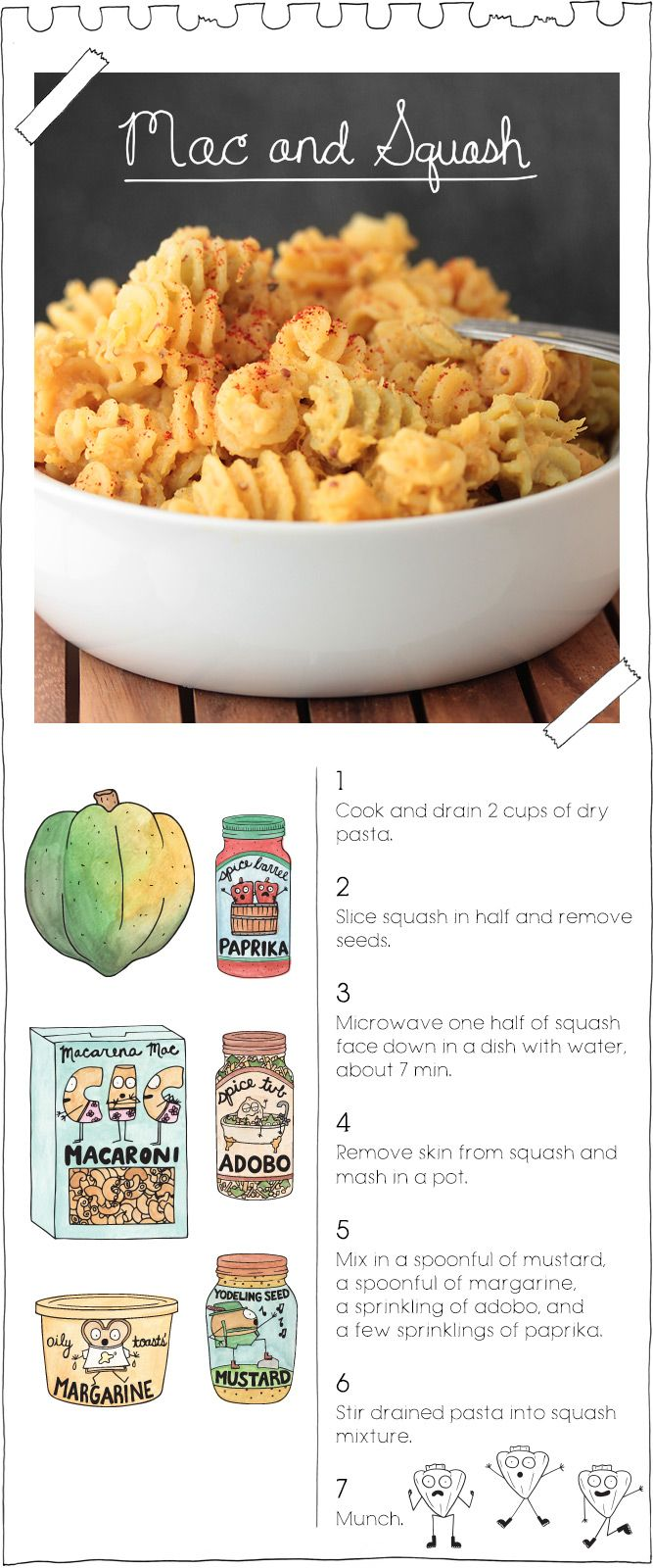 this website is SO CUTE. and look, the only ingredients are pasta, squash, mustard, margarine, adobo, and paprika. whuuuut.