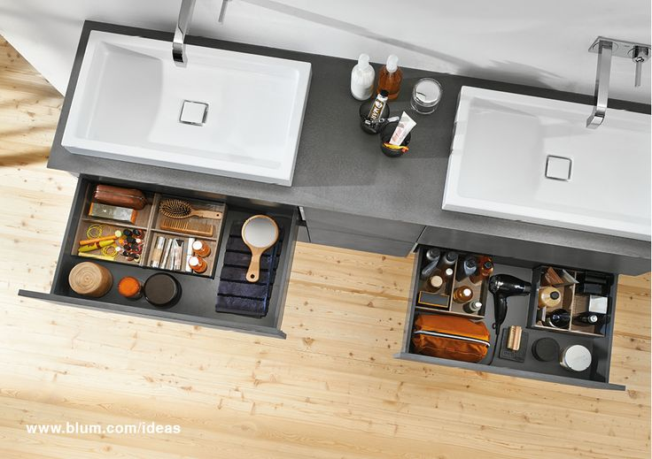 Add drawers under your wash basin to store all the items you need, right where you need them. With the AMBIA-LINE inner dividing system, the interior stays tidy and organised. Find more practical solutions on www.blum.com/ideas