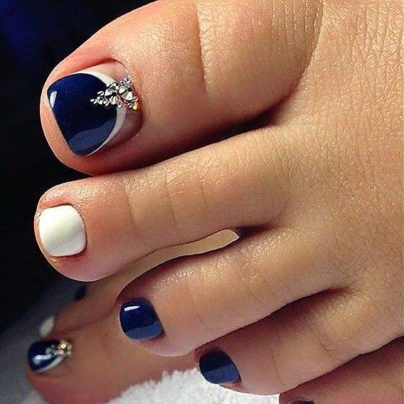 DarkBlue Toe Nail Art