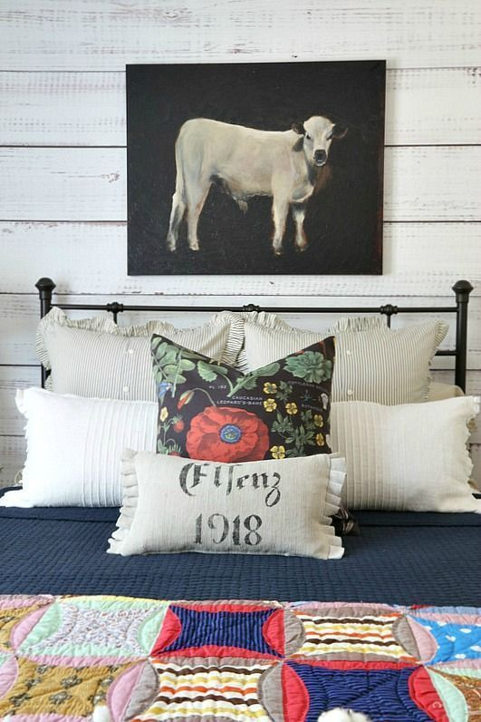 Savvy Southern Style: Cozy Fall Farmhouse Style Bedroom with bold colors and lots of comfy texture. Art by Ballard Designs, Pottery Barn bedding, Taylor Linens shams