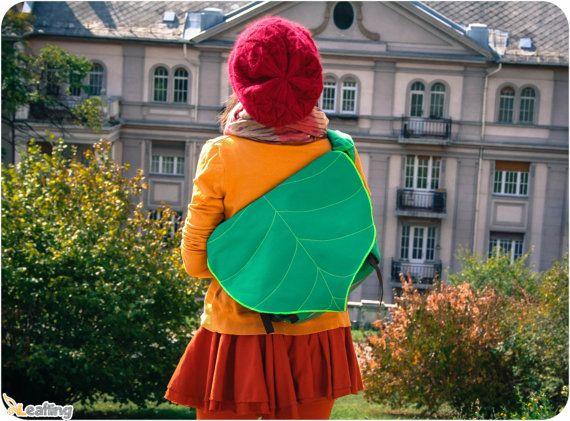 Green Leaf Bike Messenger Bag Waterproof Padded by LeaflingoOo, $73.00