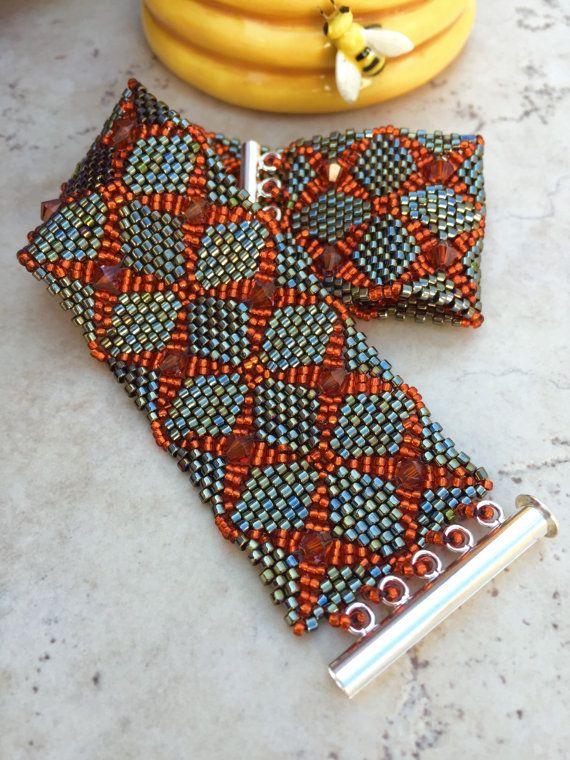 Peyote Stitch Bracelet Double Diamondback by BusyBeadHiveJewelry