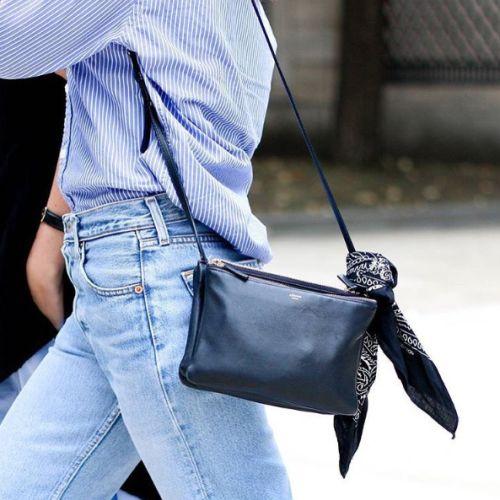 striped button down, blue and white, denim, black leather crossbody bag, black bandanna