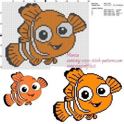 Schema punto croce Nemo (Alla ricerca di Nemo) 80x62 4 colori.jpg (1.91 MB) Mai osservato