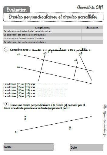 évaluation droites perpendiculaires et droites parallèles CM1