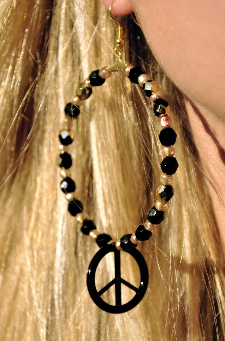 Black and Gold peace earrings