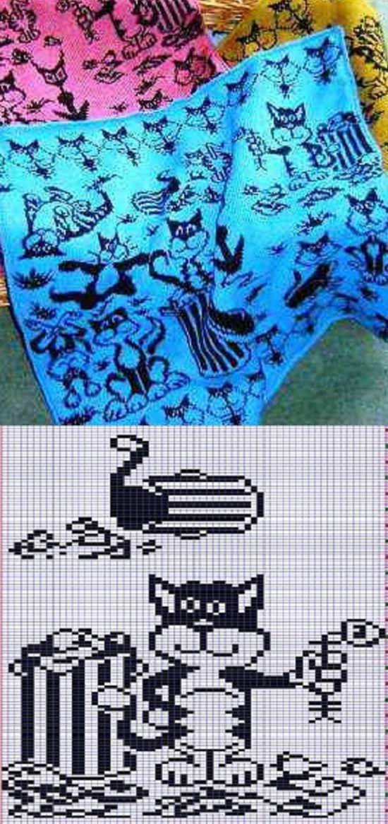 жаккард кошки, схемы, узоры, орнаменты для вязания спицами