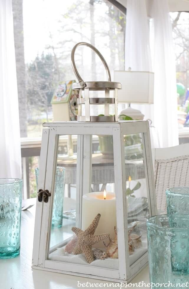 Soft Sandy Beach Centerpiece with Lighthouse Inspirations