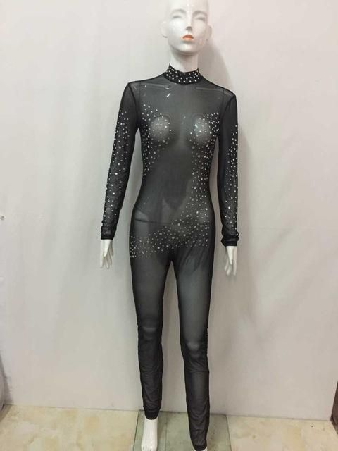 86c11e4041f7 NEW Sexy Bodysuit Crystal Appliques Fashion Women Jumpsuit Long Sleeve Rompers  Transparent Overalls Nightclub Bodycon Playsuit