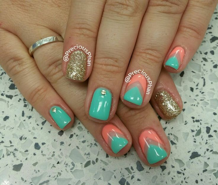 Gold, Mint and coral nails. Chevron nails.