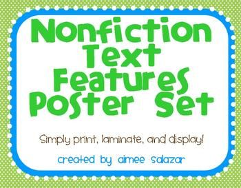 FREE Nonfiction Text Features Posters!