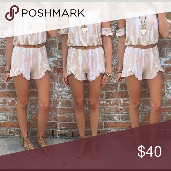 Cold shoulder crop and shorts set This set is so perfect! I love the neutral color! Boutique Pants Jumpsuits & Rompers