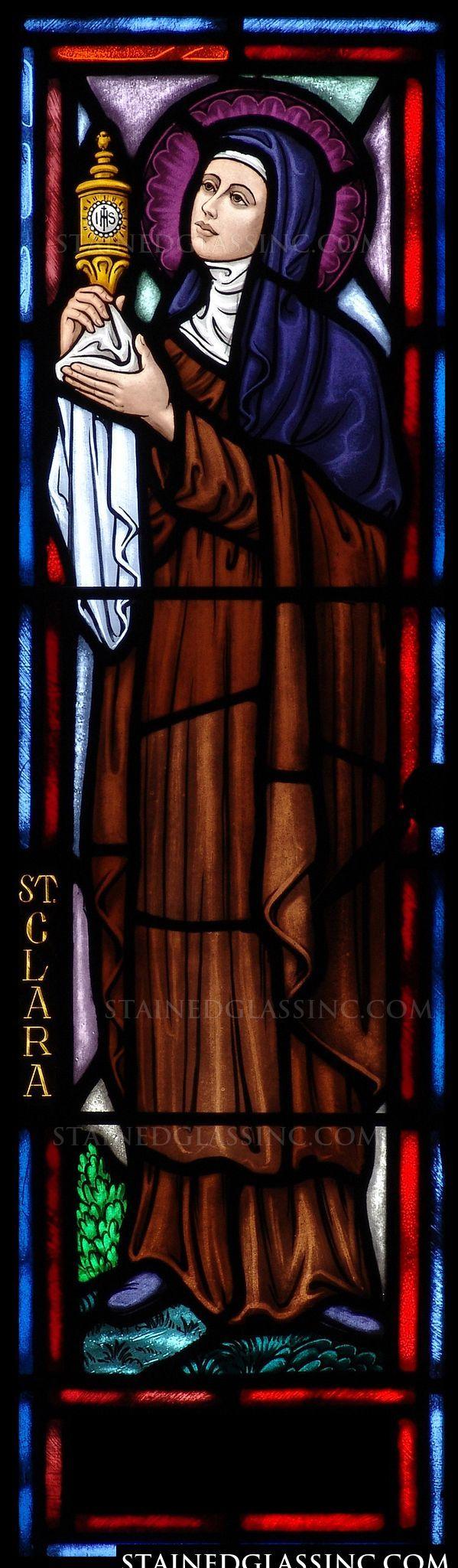 """St. Clara"" Religious Stained Glass Window"