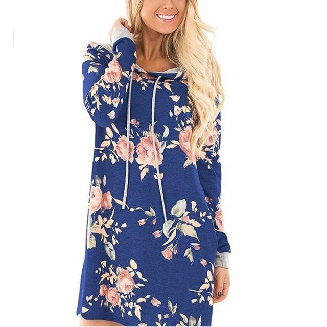 Floral Print Long Sleeve Mini Dress With Pocket