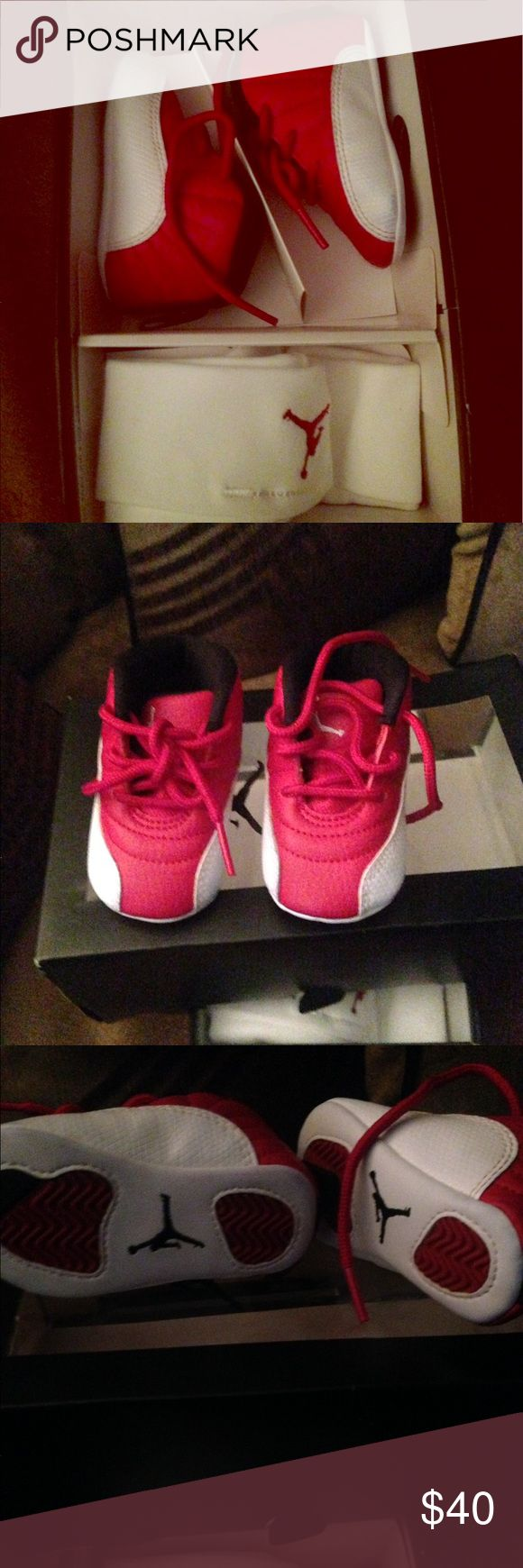 Infant Jordan Retro 12 Gift Pack Size 2C Beautiful Red and White unisex shoe that's perfect for a baby boy or girl. Compliments almost every outfit and are in excellent condition. Nike Shoes Sneakers