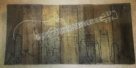 Nashville skyline with guitar wall art on wood by B & T EndlessCrafts, $40.00 Check