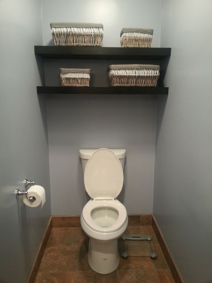 Water Closet With Floating Shelves Home Style
