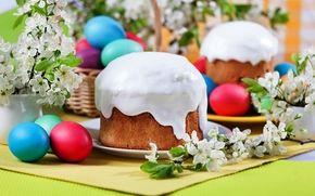 Wallpaper easter, eggs, easter, easter cake, eggs, frosting, flowers, spring