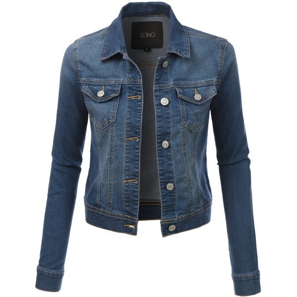 LE3NO Womens Classic Long Sleeve Denim Jean Jacket ($29) ❤ liked on Polyvore featuring outerwear, jackets, casaco, tops, tailored jacket, jean jacket, long sleeve jacket, pocket jacket and denim jacket