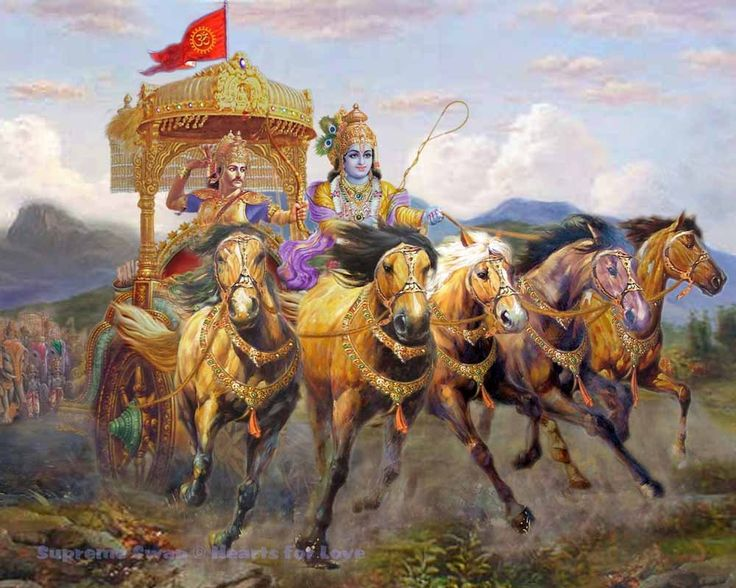 A fine print of Bhagavan Krishna and Arjuna at the battle of Kurukshetra in the chariot drawn by the symbolic five horses of the senses