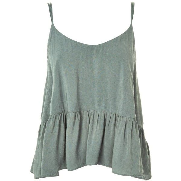 Topshop Casual Peplum Camisole Top ($21) ❤ liked on Polyvore featuring tops, petrol, green cami top, green peplum top, green cami, green camisole and rayon tops