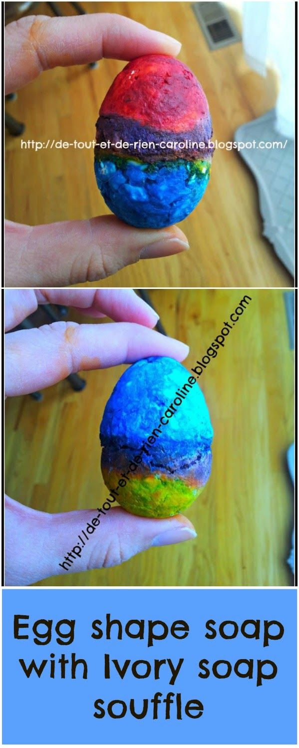 Easter egg soap with Ivory soap souffle (erupting soap)