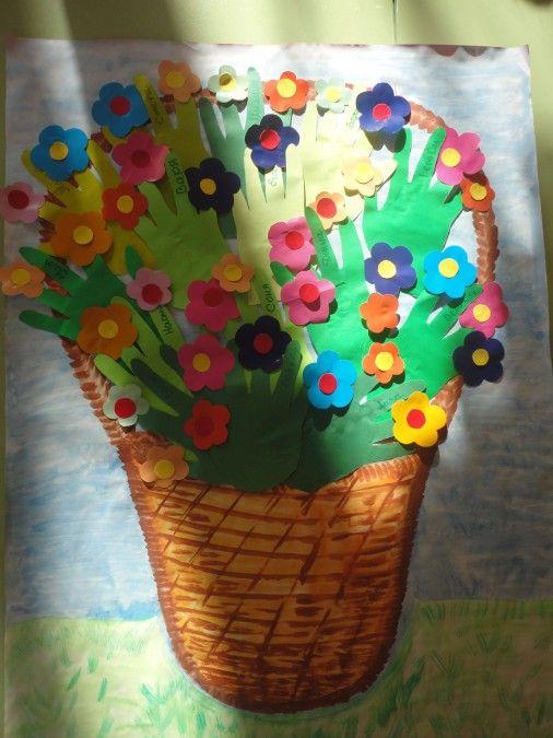 Коллективная работа «Весенний букет для мамочек». Мастер-класс Фото